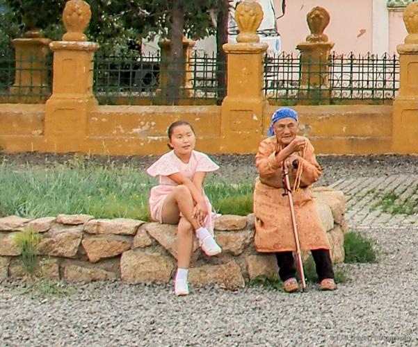 mongolian grandma and grandchild