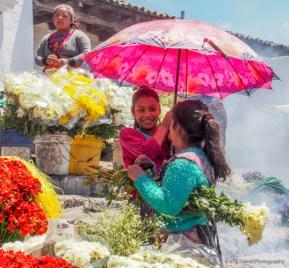 flowers at chichicastenango market