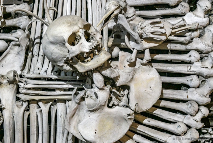 Part of family crest made of human bones in Sedlec Ossuary