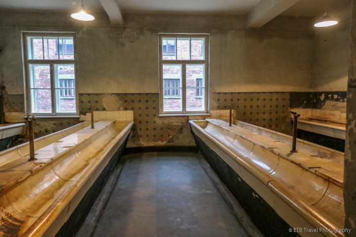 sinks in block 3 at Auschwitz