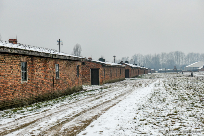 brick barracks at Auschwitz