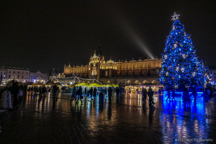 Christmas market and cloth hall in Krakow's Old Town