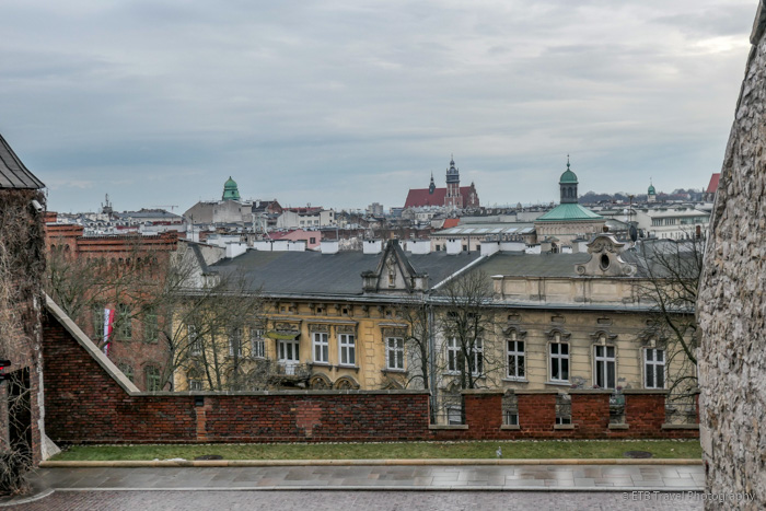 view of krakow's old town from wawel hill