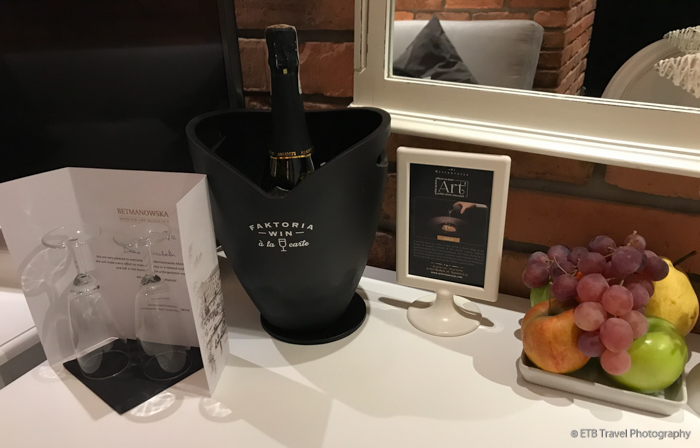 Champagne in Room at Betmanowska Residence in Krakow's Old Town
