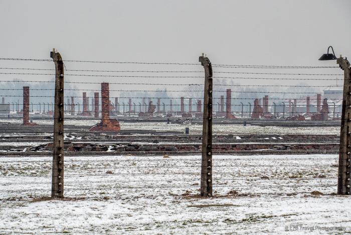 remnants of barracks at Auschwitz