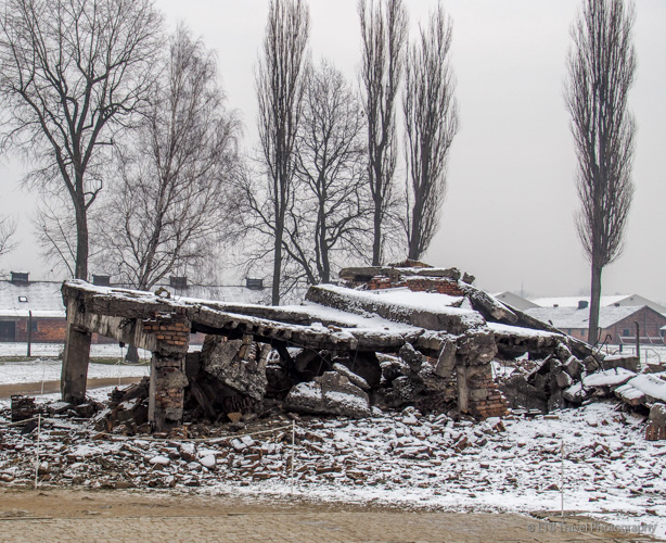 destroyed crematorium at Auschwitz