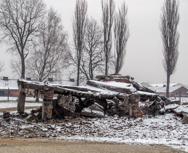 destroyed crematorium at Auschwitz