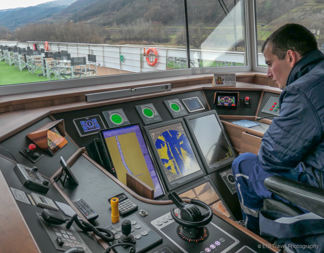 the captain's bridge on Danube River Cruise