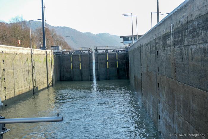 lock gates closing on Danube River Cruise