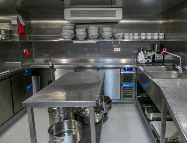 the kitchen on Danube River Cruise