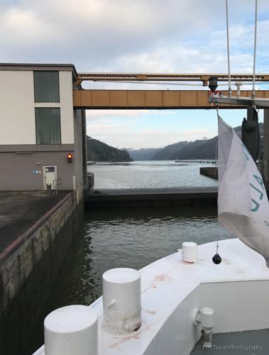 Lock almost full on Danube River Cruise