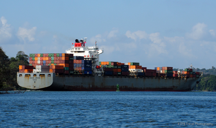 container ship on the panama canal