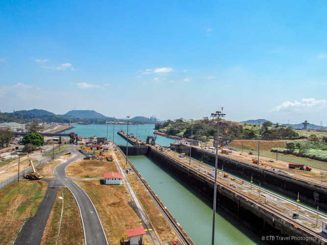 View to South from Miraflores Locks on Panama Canal