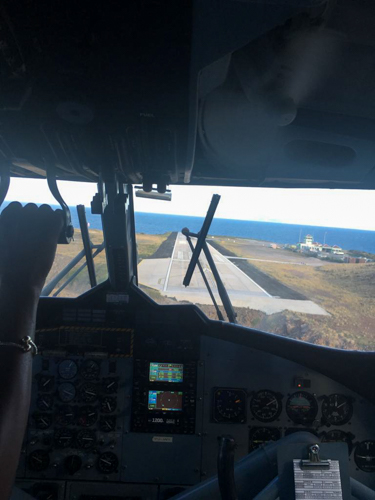 about to land on the smallest commercial runway in the world in Saba