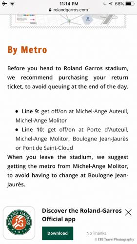 metro directions to Roland-Garros