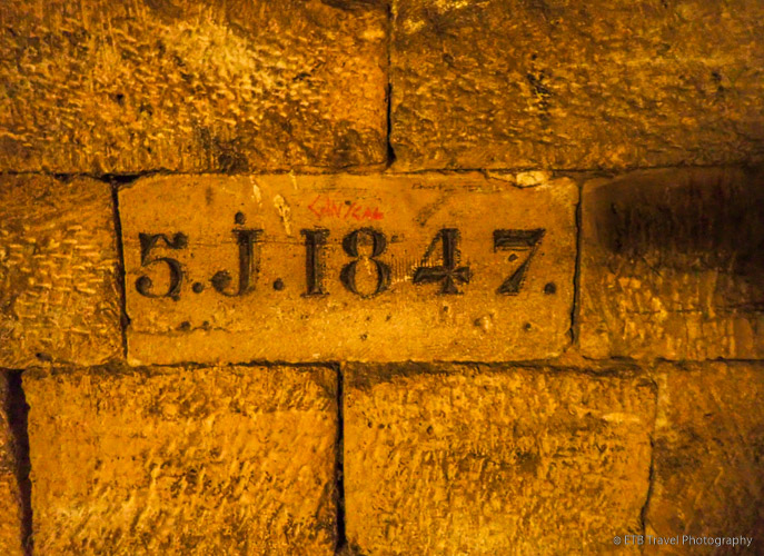 number marking area of limestone mine in les catacombes