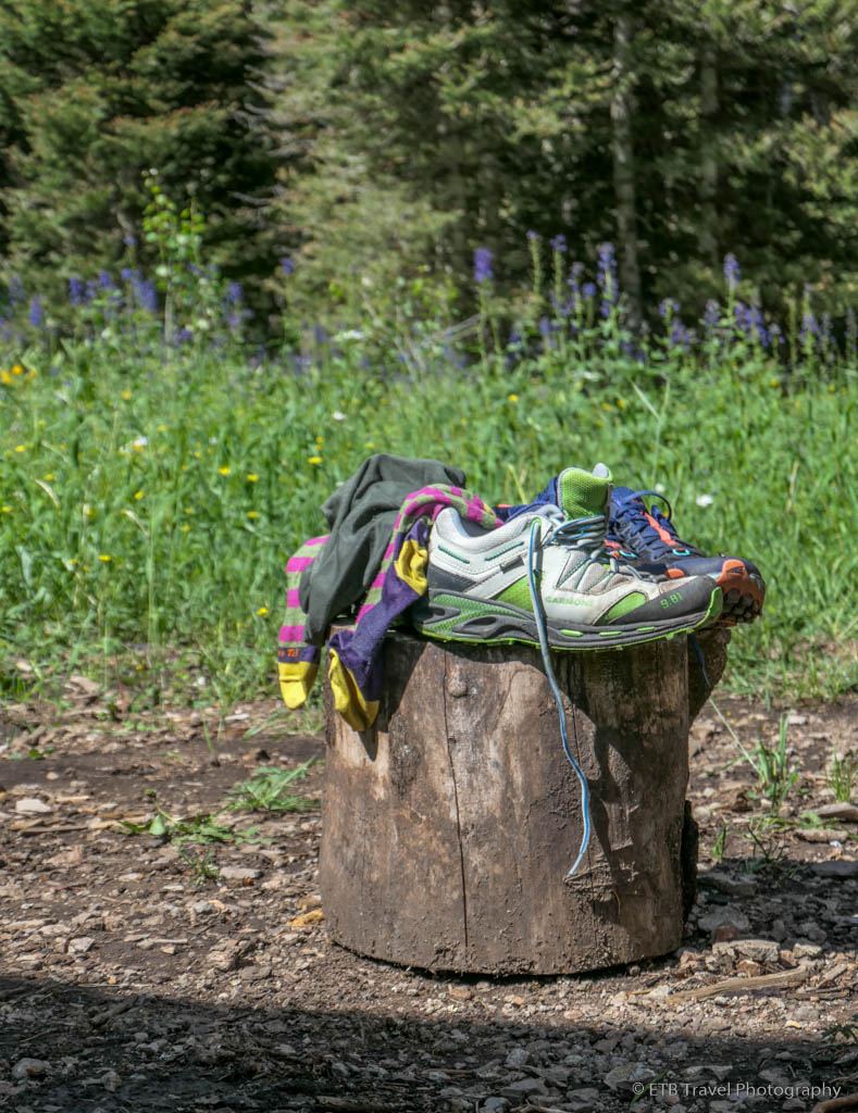 shoes and socks drying in the sun