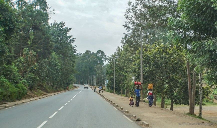 walking along the street in rwanda