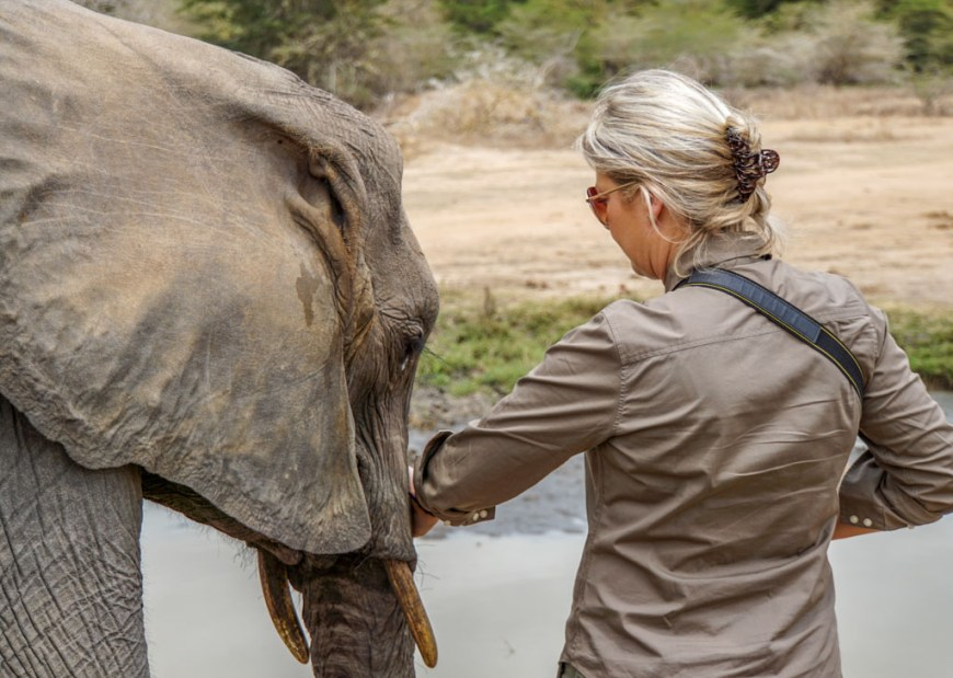 Rozy and elephant at Umani Spring