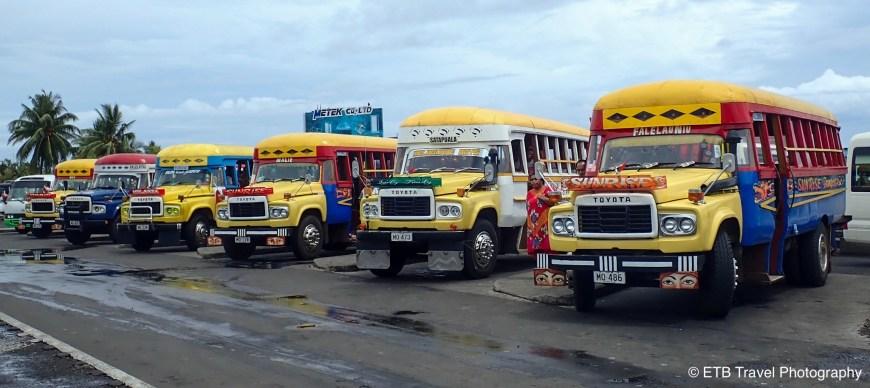 Colorful buses in Apia, Samoa