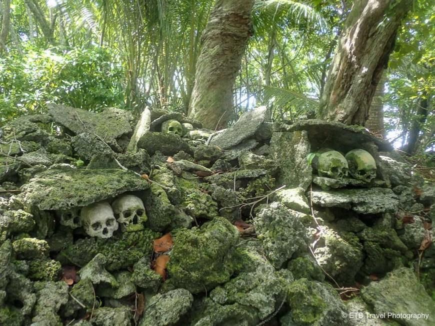 skulls on the altar on skull island near munda