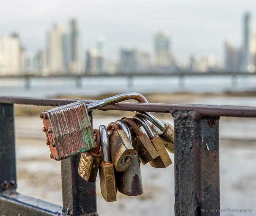 locks of love with view of panama city skyline