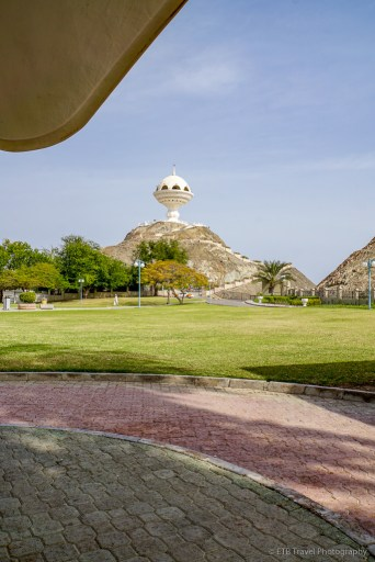 view of the mejmar from Riyam Park in Muscat