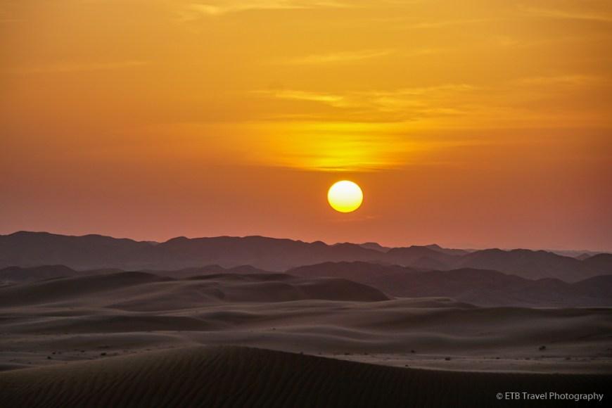 sunset in Sharqiya Sands