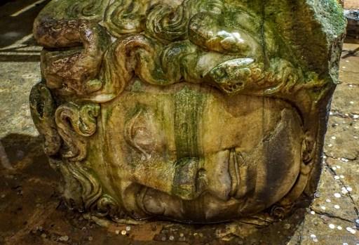 medusa head in basilica cistern