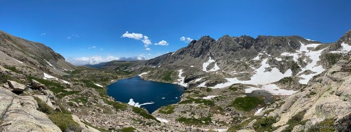 view from the ridge to little blue lake