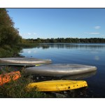 photographic note card, colorful canoes in vermont