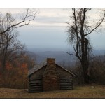 photographic note card, log cabin