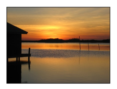 photographic note card, belize sunset