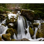 photographic note card, snowy waterfall in oregon