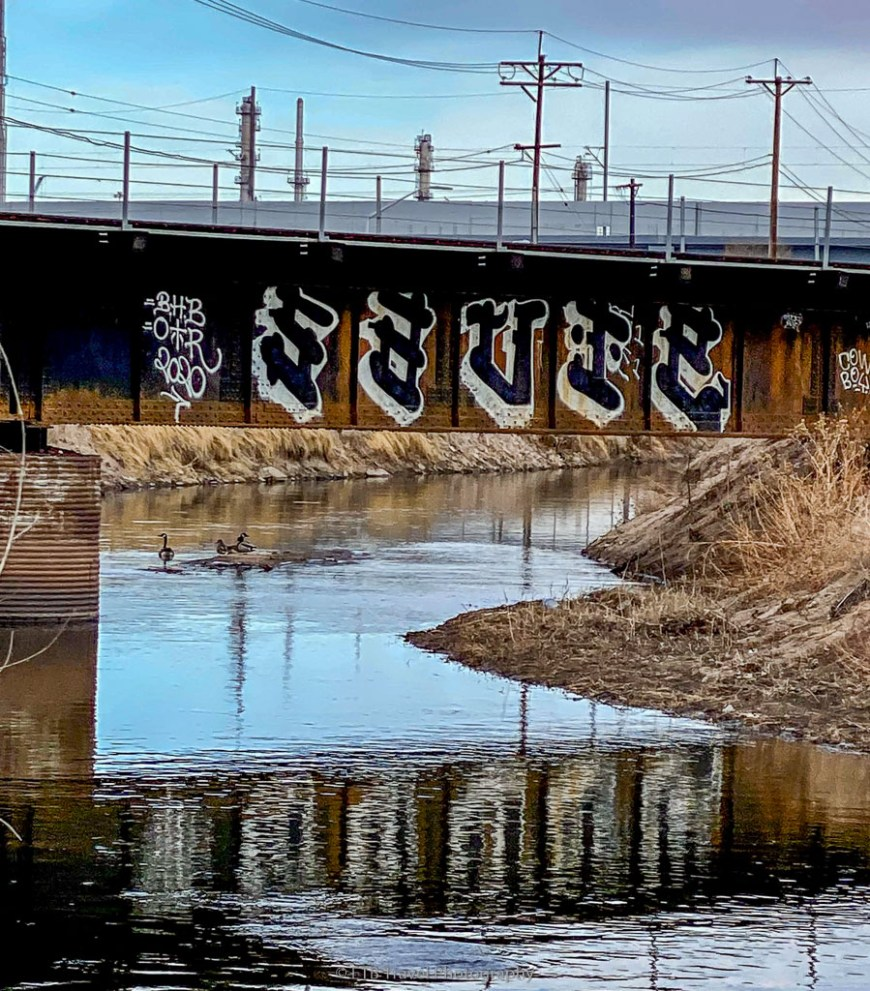 bridge with graffiti on the platte river trail