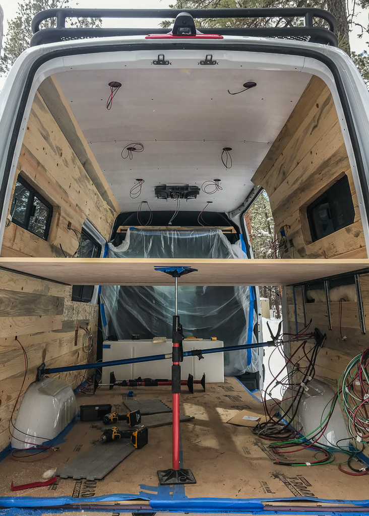 pine beetle tongue and groove walls on camper