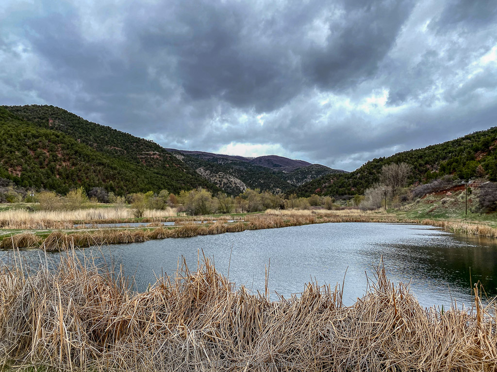 fish pond at rifle falls state park