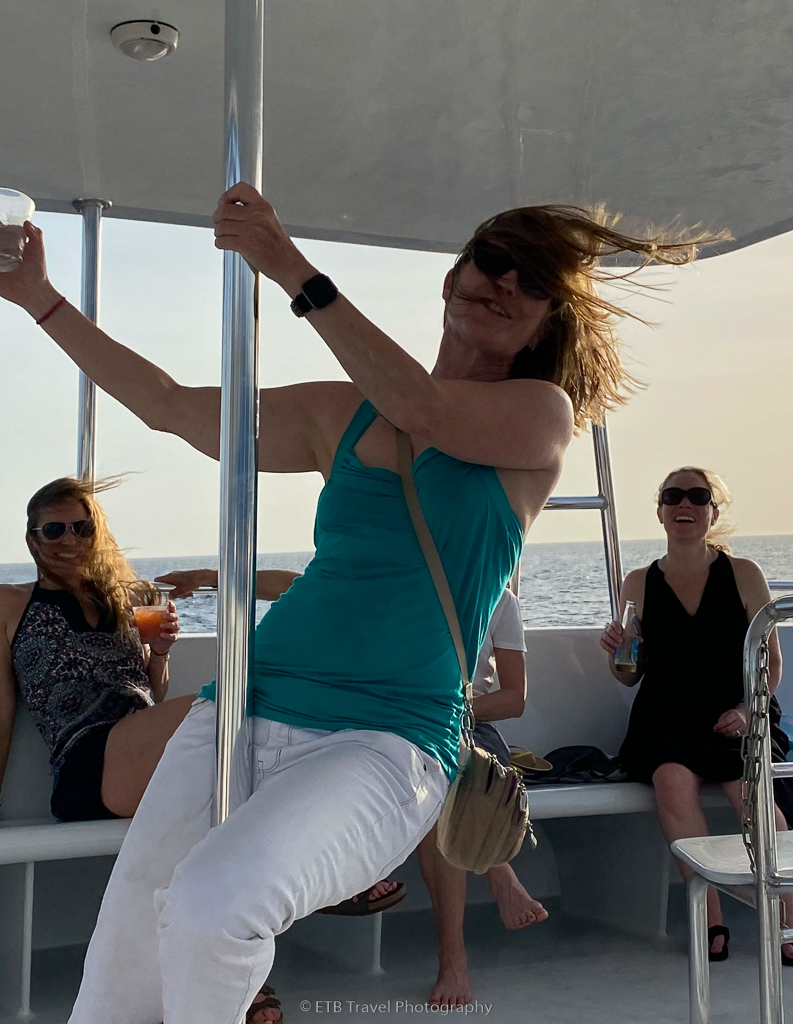 dancing on the sunset cruise
