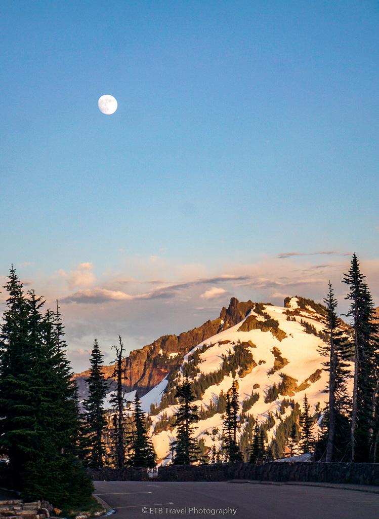 full moon in Mt Rainier National Park