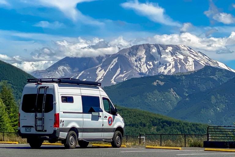 VANgo in front of Mount St. Helens