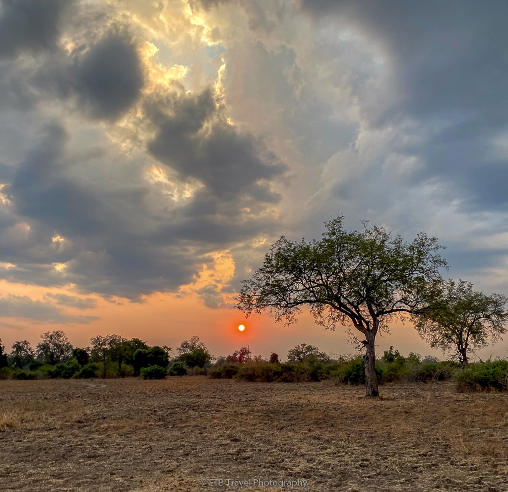 sunset in south luangua national park