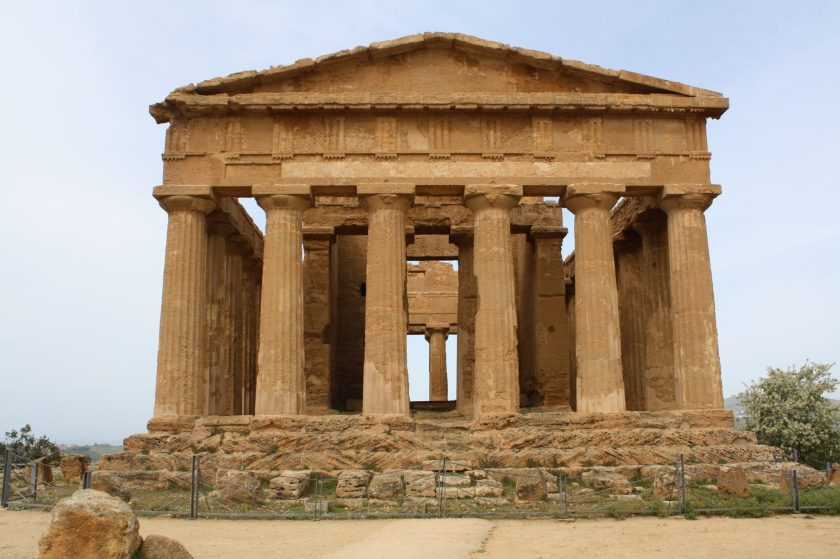The Temple of Concordia, Agrigento, Sicily. The temple, in Doric style, was constructed between 440 and 430 BCE and had 6 columns on the facade and 13 along the sides. It is one of the best preserved Greek style temples in the Mediterranean.