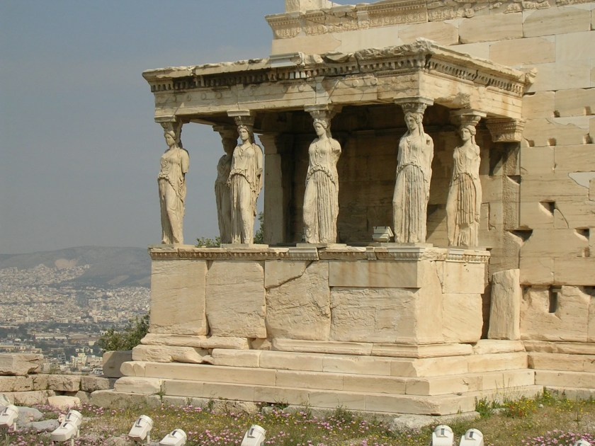 The 5th century BCE Erechtheion, the Acropolis, Athens. The famous south porch had six caryatids and the temple stored the sacred wooden statue of Athena.