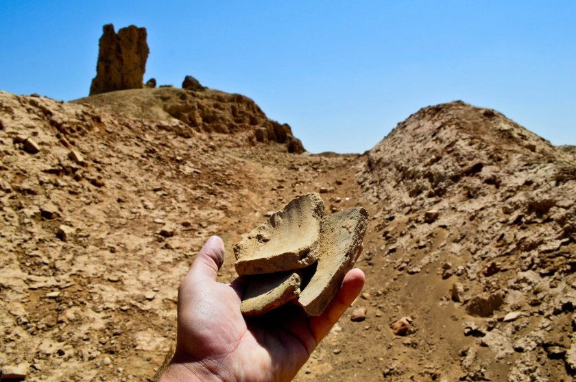 Fragments of a pottery jar; an aftermath of looters attempts to uncover artifacts and sale them. Illegal excavations have targeted several archeological sites in Iraq.