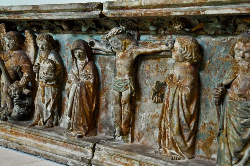 The holy trinity. Painted alabaster. English, from Nottingham, 1375-1385 CE.