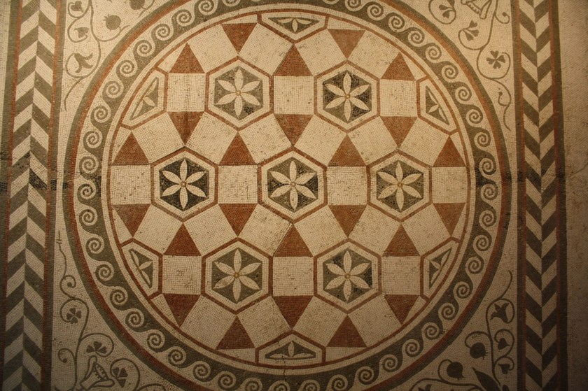 A Roman floor mosaic in geometric design dating to the late 1st century CE. From a villa near Guido Castle, near Rome. Palazzo Massimo, Rome.