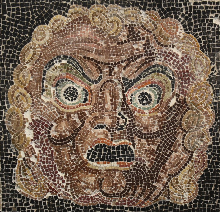 A theatre mask mosaic, 1st centruy BCE. From a private villa in the area of Villa Ruffinella, Rome. Palazzo Massimo, Rome.