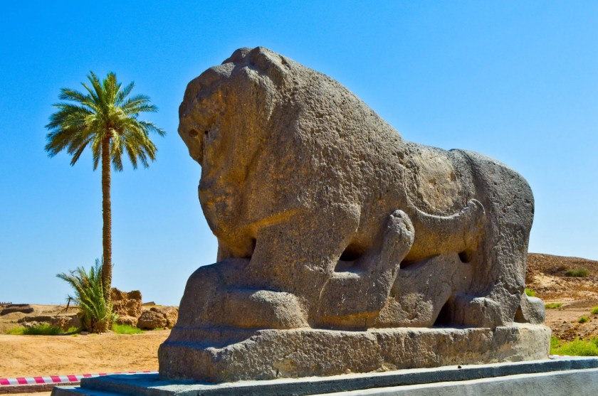 The Lion of Babylon statue. Basalt. Neo-Babylonian period, reign of king Nebuchadnezzar, 605-562 BCE. Babylon, modern Babel Governorate, Iraq.