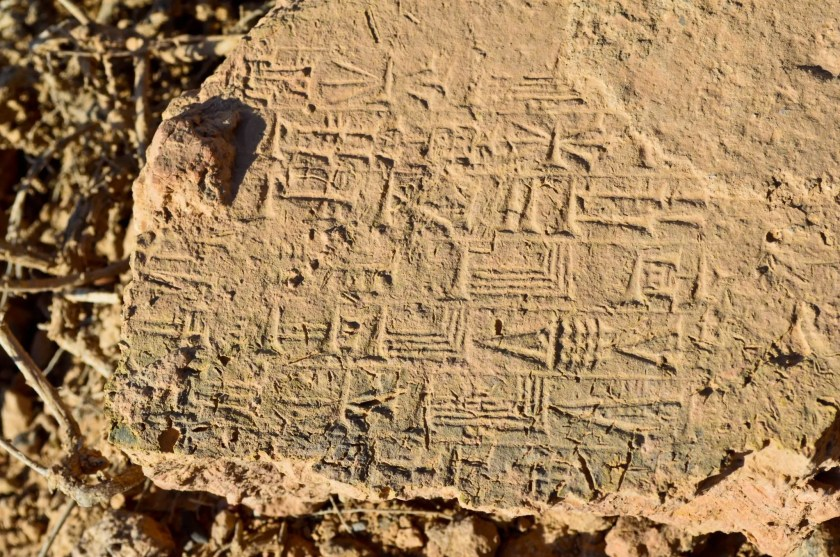 A close-up view of a partially broken stamped mud-brick. I found the brick on the earth! Babylon, modern day Bebel Governorate, Iraq.