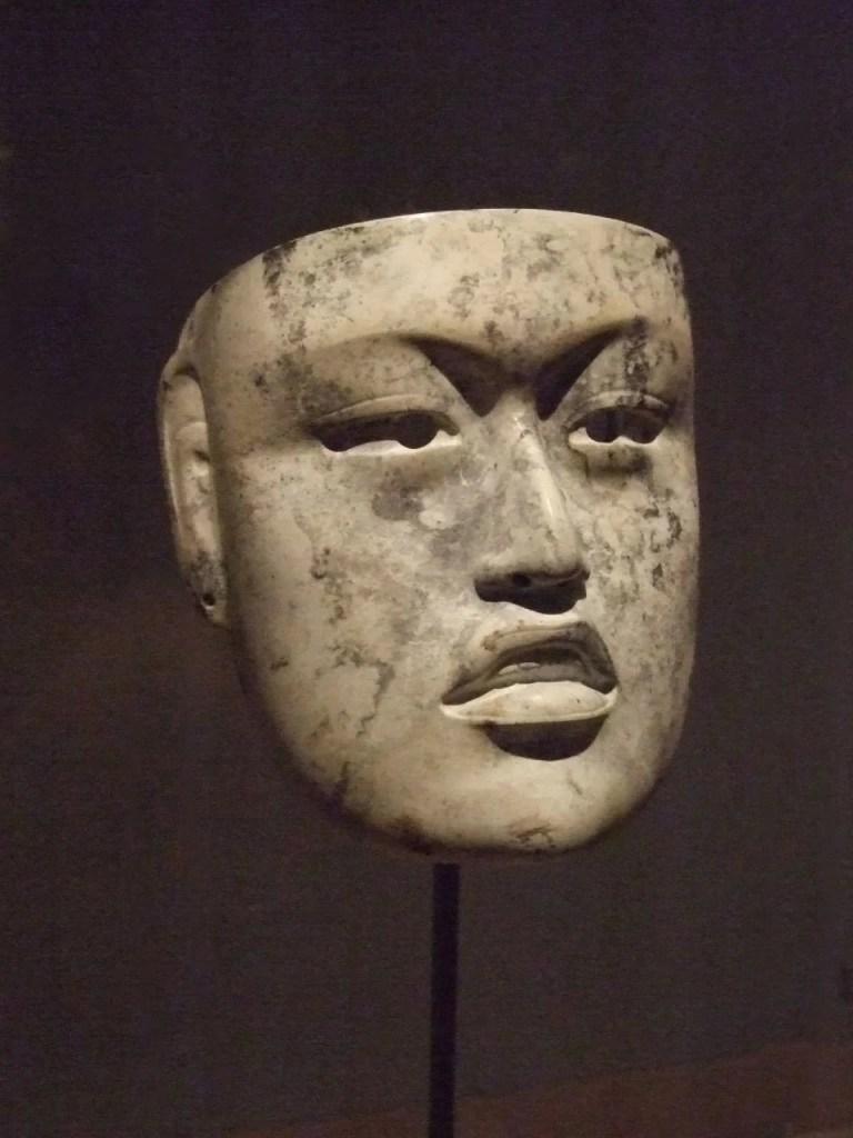 A mask of jadeite from the Olmec civilization of the Gulf coast, Mesoamerica, 900-500 BCE. Provenance: Rio Pesquero, Mexico. (Dallas Museum of Art)